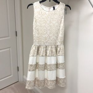 Lord & Taylor Cream and off white dress
